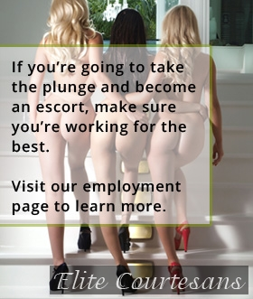 work as an escort - three high class escorts climbing the stairs