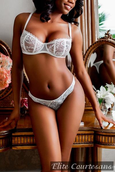 Super gorgeous London black escort Jessica poses in white two set underwear